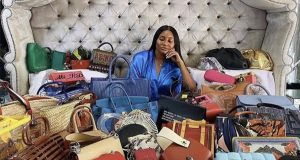 Ajimobi's daughter shows off her collection of designer handbags