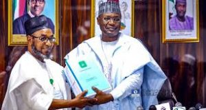 INEC Chairman, Yakubu Mahmood hands over to Ahmed Mu'azu