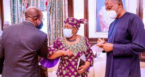 Okonjo-Iweala visits Buhari at Aso Rock villa (Photos)