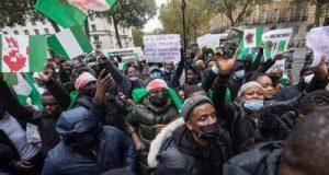 Breaking: Nigerians in the Diaspora storm Buhari's residence in London