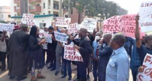 Journalists protest at Police Force Headquarters Abuja over missing colleague
